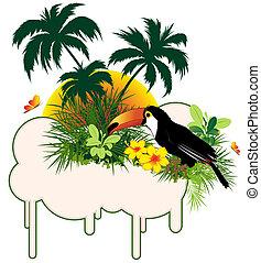 tropische vogel, en, palmen