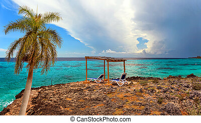 tropische , vorher, sturm, meer, paradies