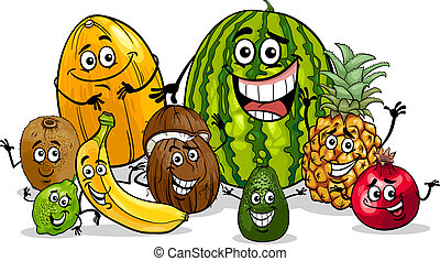 tropische vruchten, groep, spotprent, illustratie