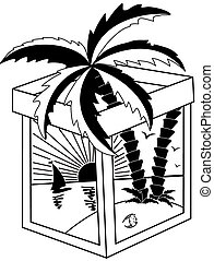 tropische , weißes, schwarz, landschaftsbild