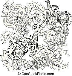 tropische , wild, vögel, und, flowers., farbton- buch, für, erwachsener, und, älter, children., färbung, page., grobdarstellung, vektor, illustration.