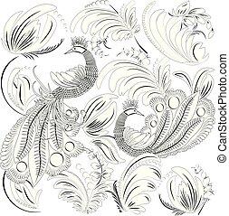 tropische , wild, vögel, und, leaves., farbton- buch, für, erwachsener, und, älter, children., färbung, page., grobdarstellung, vektor, illustration.