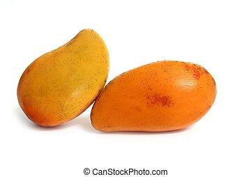 tropische , witte , fruit, vrijstaand, mango