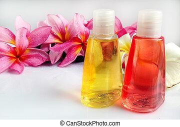 tropische , wohlfühlen, spa, &, aromatherapy, begriff, mit, plumeria, blume