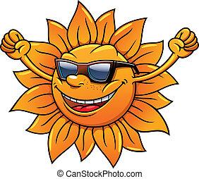 tropische , zon, plezier, zonnebrillen, hartelijk