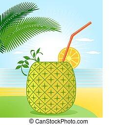 tropischer cocktail, ananas