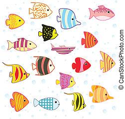 tropischer fisch, satz, karikatur
