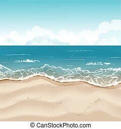 tropischer strand, abbildung, hintergrund