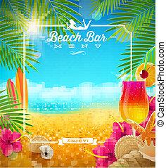 tropischer strand, bar, menükarte