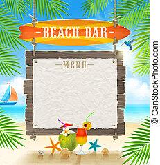 tropischer strand, bar, tafel