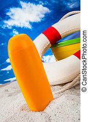 tropischer strand, feiertage, begriff