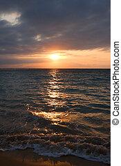 tropischer strand, gelassen, sonnenaufgang, wasserlandschaft
