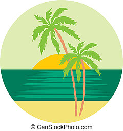 tropischer strand, handfläche, bäume.
