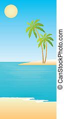 tropischer strand, palmen