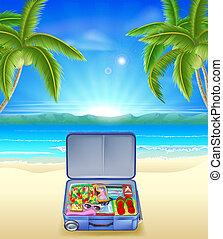 tropischer strand, tourist, koffer