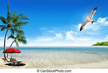 tropischer strand, und, palmen