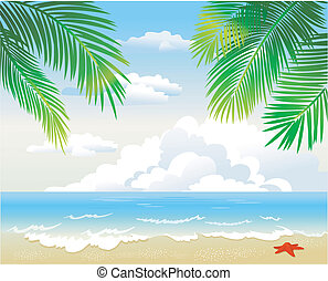 tropisches blatt, sandstrand, handfläche