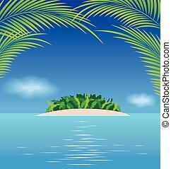 tropisches paradies, wasserlandschaft, insel