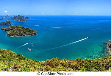 tropisk ö, natur, thailand, hav, skärgård, antenn, panorama, utsikt., ang, läderrem, medborgare, flotta parkera, nära, knock-out samui
