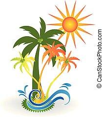 tropisk ö, paradis, strand, logo