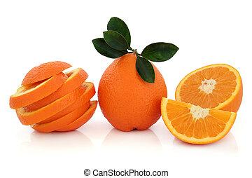tropisk, apelsin, frukt