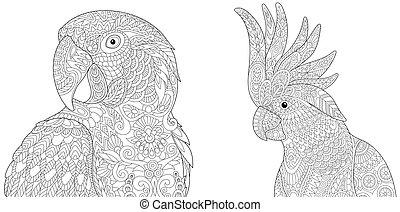 tropisk, ara, papegojor, kakadua