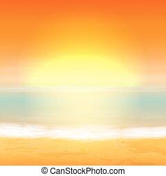 tropisk, baggrund., hav, sunset.