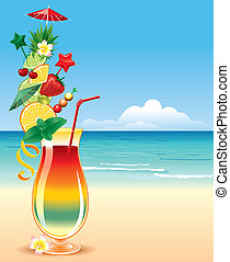 tropisk, cocktai