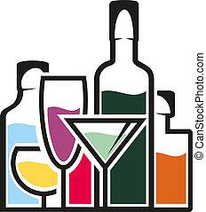 tropisk, cocktailer, flaskor, alkohol