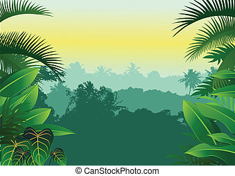 tropisk, djungel