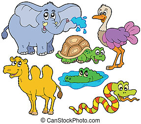tropisk, djuren, kollektion