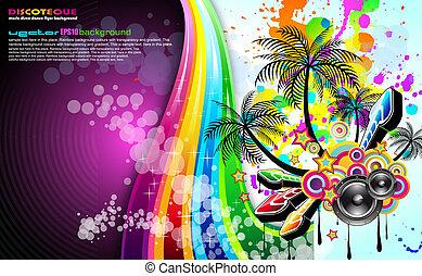 tropisk, flyer, musik, begivenhed, disco
