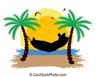 tropisk, hängmatta, plats, handflator
