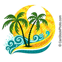 tropisk, håndflade, hav, sollys, bølger