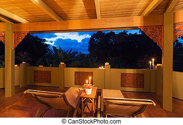 tropisk, hem, solnedgång, romantisk, däck