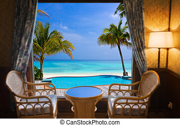 tropisk, hotellrum, landskap