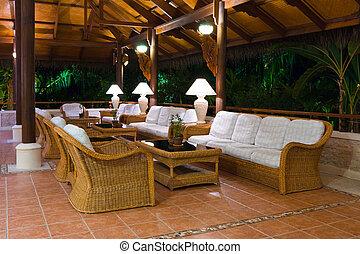 tropisk, inre, hotell foajé, mottagande