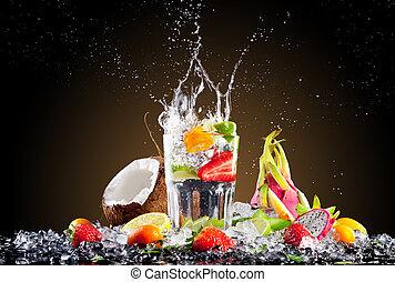tropisk, is, dricka, med, plaska