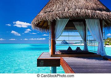 tropisk, kurbad, bungalower, lagune, overwater