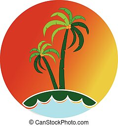 tropisk, logo, ikon