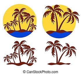tropisk, logo, island.