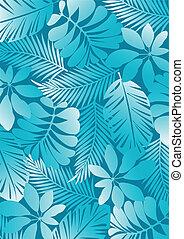 tropisk, mönster, aqua