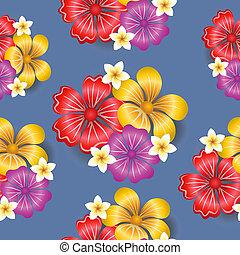 tropisk, mönster, blomningen, seamless, bakgrund