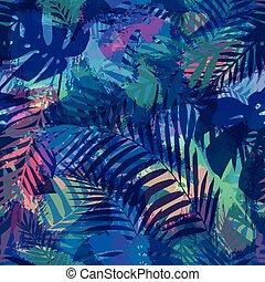 tropisk, mönster, palm, seamless, leaves.