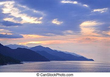 tropisk, mexikansk, kyst, hos, solnedgang