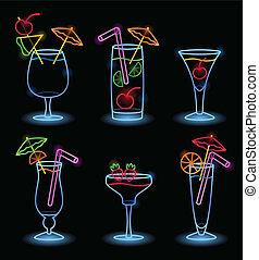 tropisk, neon, drycken