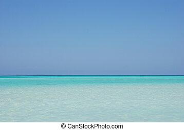 tropisk, ocean, horisont