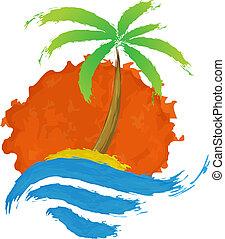 tropisk, palm, på, ö, med, sea.