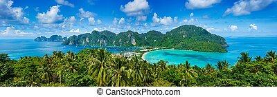 tropisk, panorama, ö