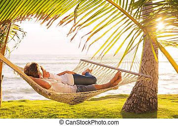 tropisk, par, hængekøje, slapp